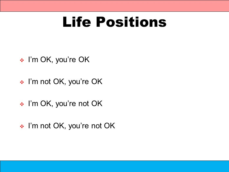 Life Positions Im OK, youre OK Im not OK, youre OK Im OK, youre not OK Im not OK, youre not OK