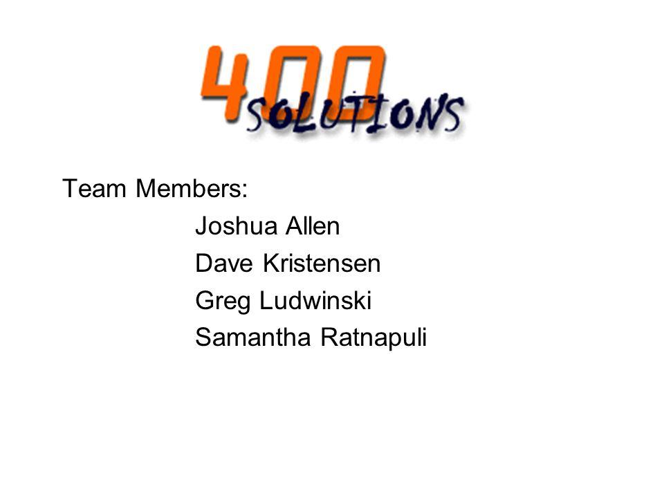 Team Members: Joshua Allen Dave Kristensen Greg Ludwinski Samantha Ratnapuli