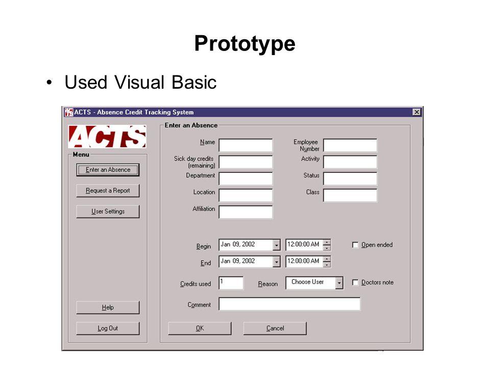 Prototype Used Visual Basic