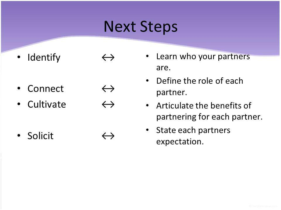 Next Steps Identify Connect Cultivate Solicit Learn who your partners are.