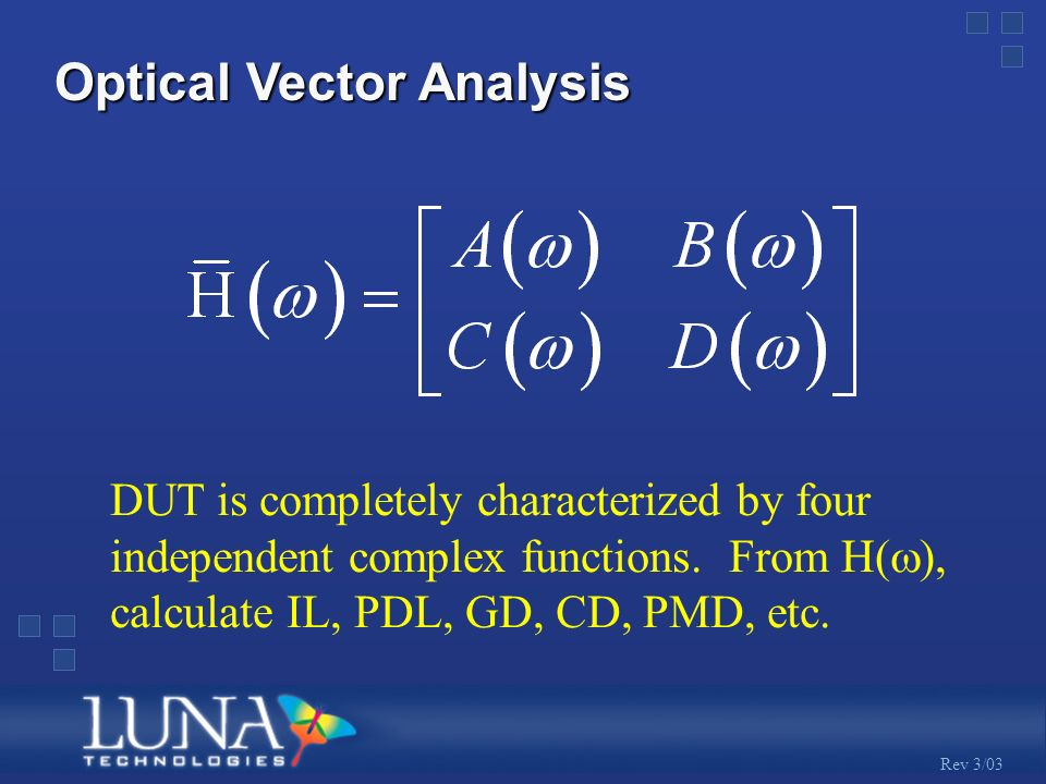 Rev 3/03 Optical Vector Analysis DUT is completely characterized by four independent complex functions.
