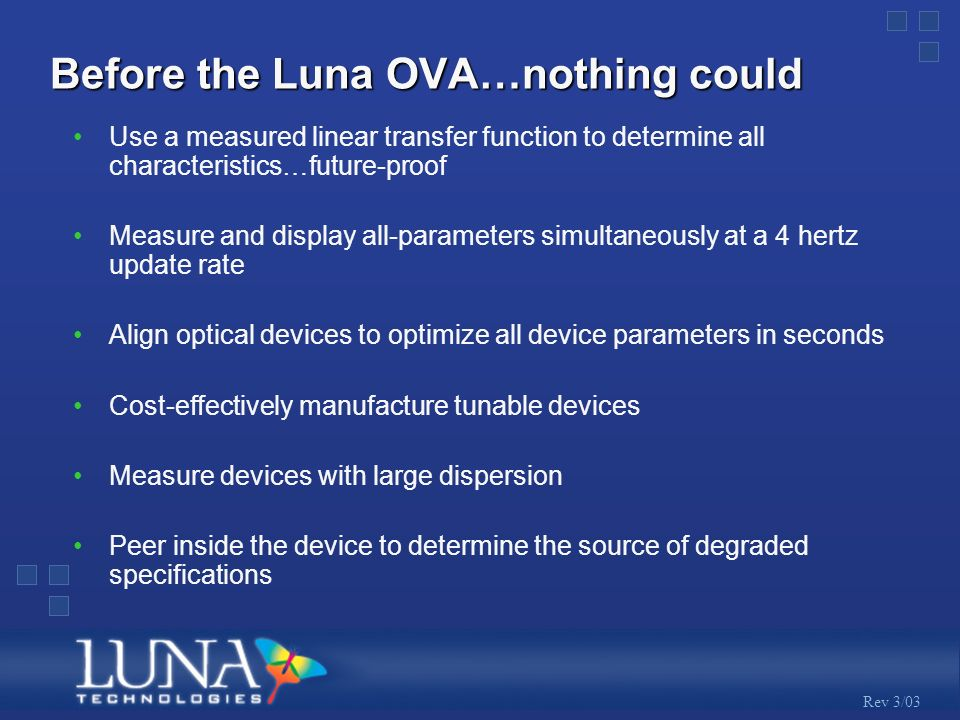 Rev 3/03 Before the Luna OVA…nothing could Use a measured linear transfer function to determine all characteristics…future-proof Measure and display all-parameters simultaneously at a 4 hertz update rate Align optical devices to optimize all device parameters in seconds Cost-effectively manufacture tunable devices Measure devices with large dispersion Peer inside the device to determine the source of degraded specifications
