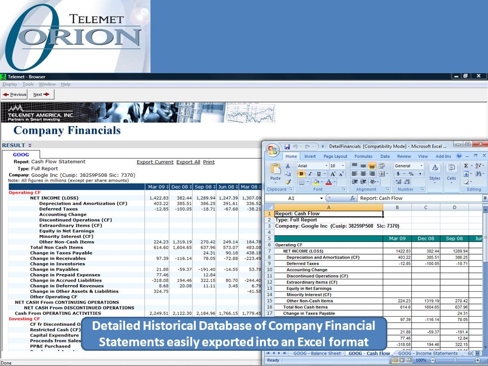 Detailed Historical Database of Company Financial Statements easily exported into an Excel format