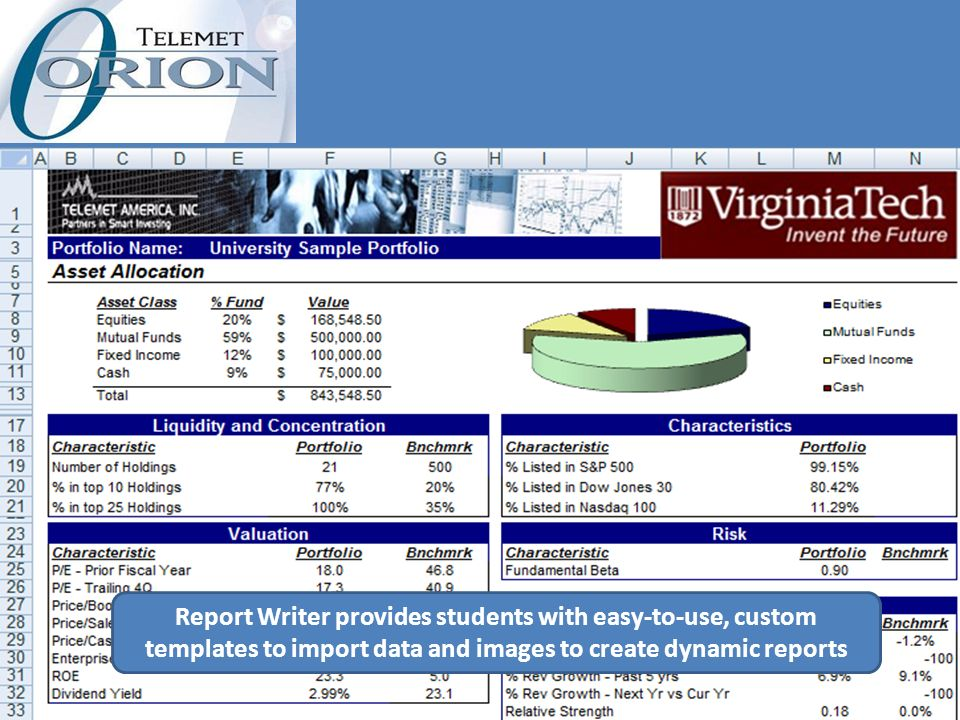 Report Writer provides students with easy-to-use, custom templates to import data and images to create dynamic reports