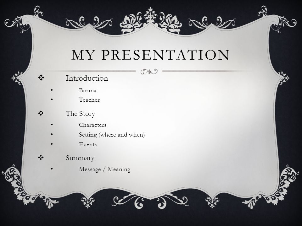 MY PRESENTATION Introduction Burma Teacher The Story Characters Setting (where and when) Events Summary Message / Meaning