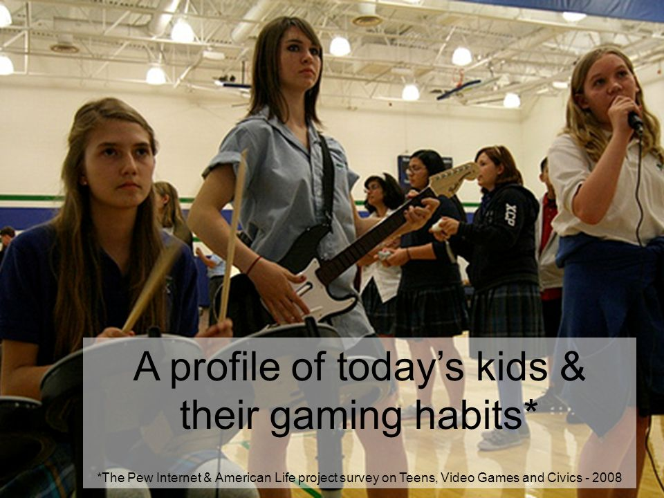 A profile of todays kids & their gaming habits* *The Pew Internet & American Life project survey on Teens, Video Games and Civics - 2008
