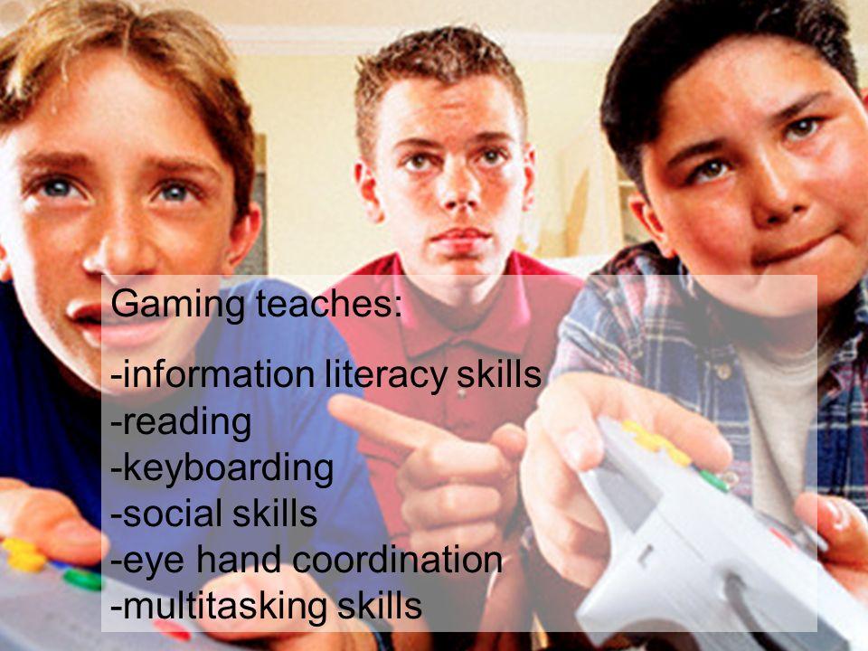 Gaming teaches: -information literacy skills -reading -keyboarding -social skills -eye hand coordination -multitasking skills