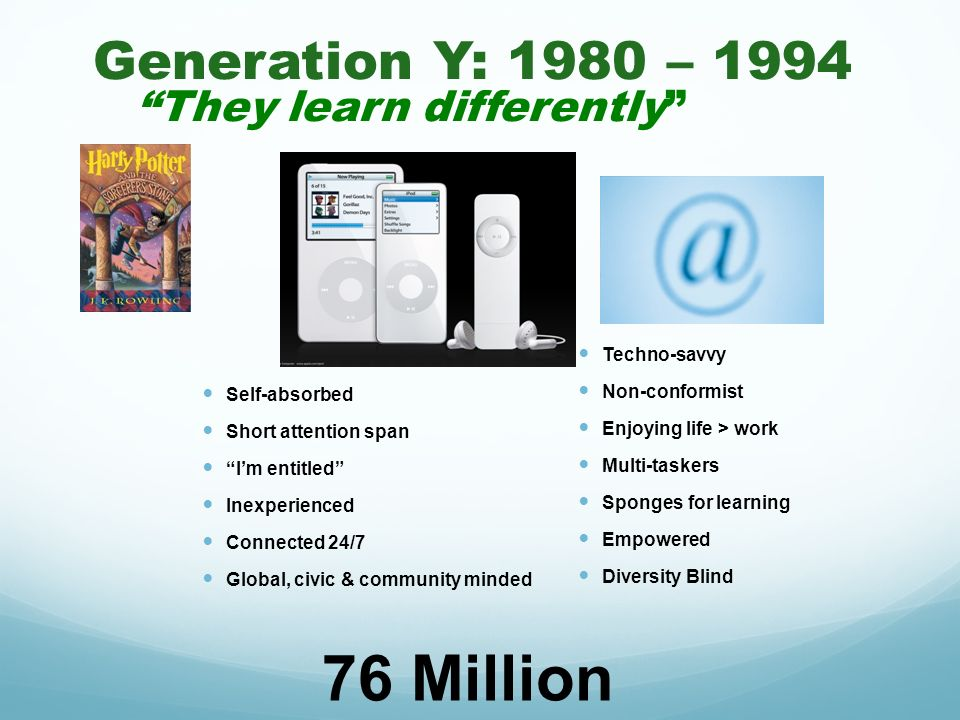 Generation Y: 1980 – 1994 They learn differently Self-absorbed Short attention span Im entitled Inexperienced Connected 24/7 Global, civic & community