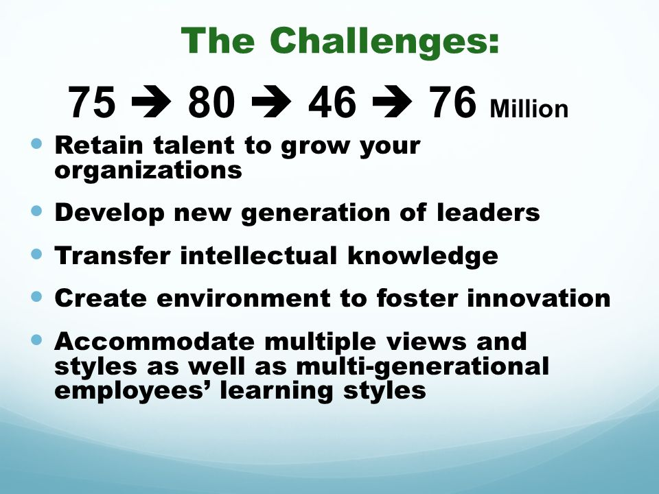 The Challenges: Retain talent to grow your organizations Develop new generation of leaders Transfer intellectual knowledge Create environment to foste