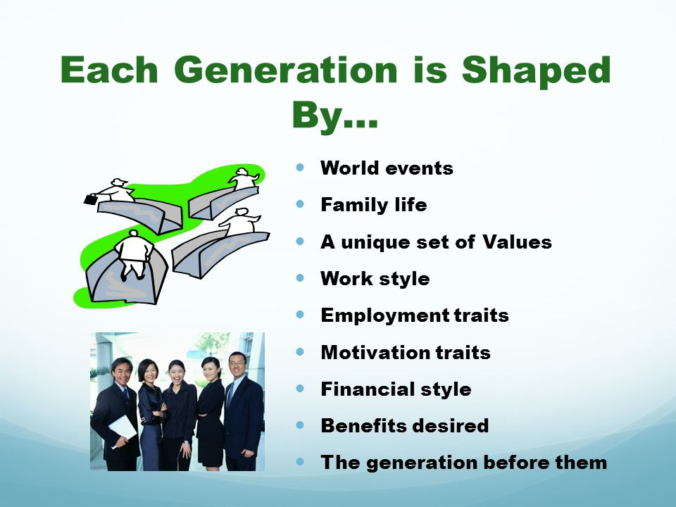 Each Generation is Shaped By… World events Family life A unique set of Values Work style Employment traits Motivation traits Financial style Benefits