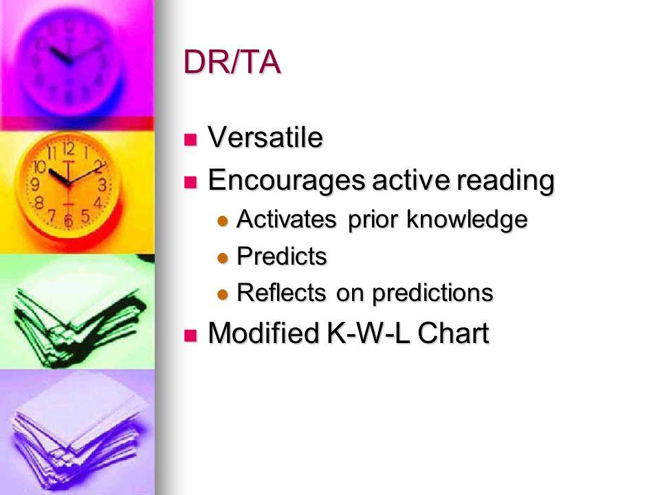 DR/TA Versatile Versatile Encourages active reading Encourages active reading Activates prior knowledge Activates prior knowledge Predicts Predicts Re