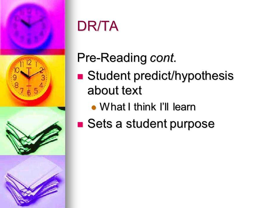 DR/TA Pre-Reading cont. Student predict/hypothesis about text Student predict/hypothesis about text What I think Ill learn What I think Ill learn Sets