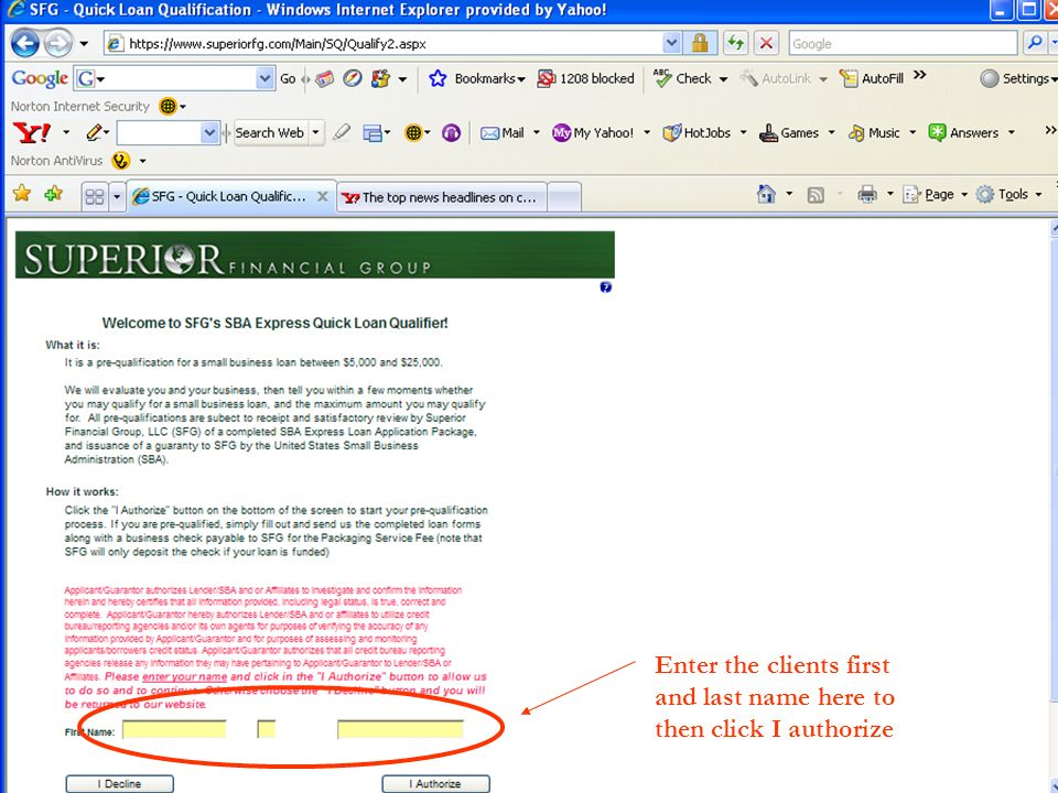 15 Enter the clients first and last name here to then click I authorize