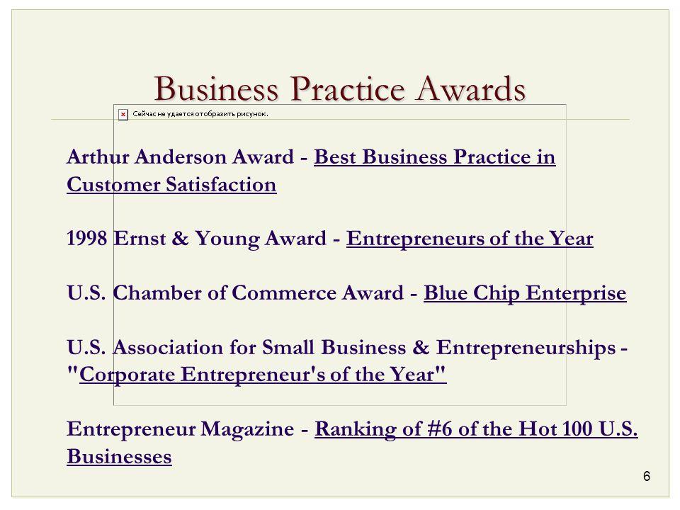 6 Business Practice Awards Arthur Anderson Award - Best Business Practice in Customer Satisfaction 1998 Ernst & Young Award - Entrepreneurs of the Yea