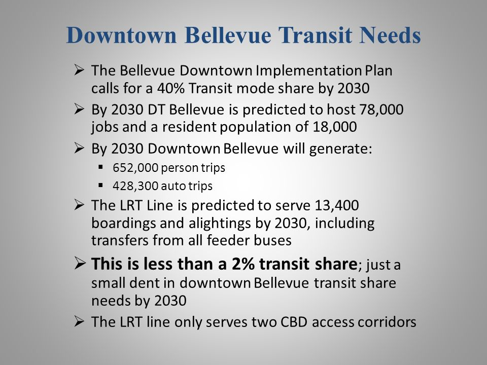 Downtown Bellevue Transit Needs The Bellevue Downtown Implementation Plan calls for a 40% Transit mode share by 2030 By 2030 DT Bellevue is predicted to host 78,000 jobs and a resident population of 18,000 By 2030 Downtown Bellevue will generate: 652,000 person trips 428,300 auto trips The LRT Line is predicted to serve 13,400 boardings and alightings by 2030, including transfers from all feeder buses This is less than a 2% transit share ; just a small dent in downtown Bellevue transit share needs by 2030 The LRT line only serves two CBD access corridors