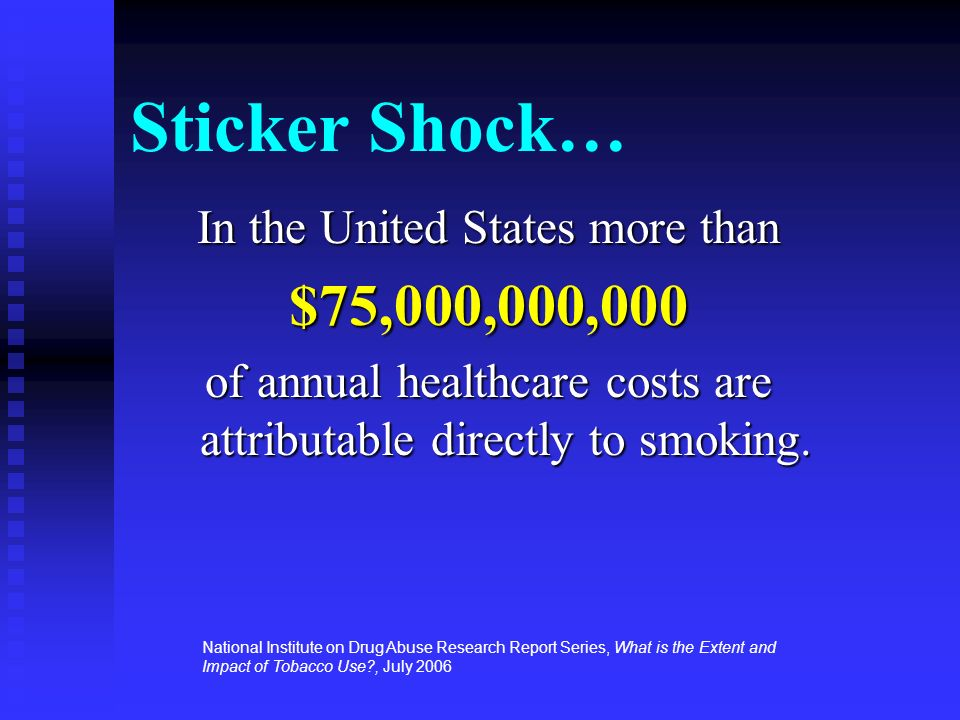 Sticker Shock… In the United States more than $75,000,000,000 of annual healthcare costs are attributable directly to smoking. National Institute on D