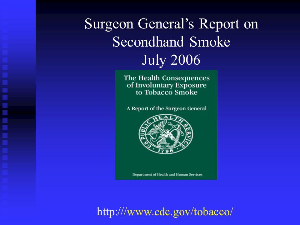 http:///www.cdc.gov/tobacco/ Surgeon Generals Report on Secondhand Smoke July 2006