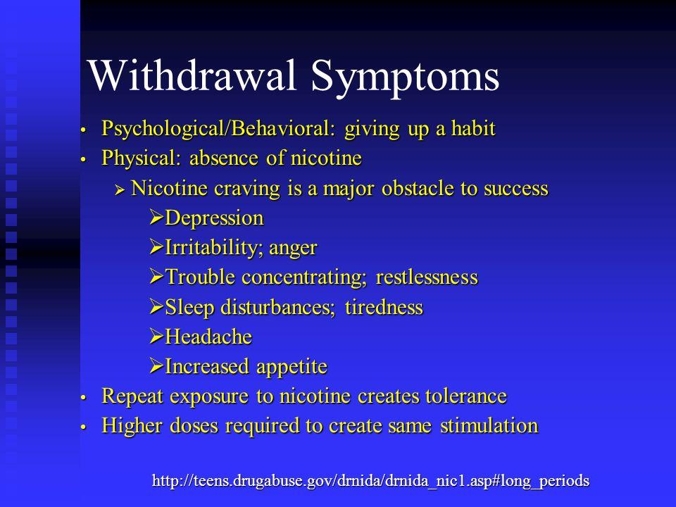 Withdrawal Symptoms Psychological/Behavioral: giving up a habit Psychological/Behavioral: giving up a habit Physical: absence of nicotine Physical: ab