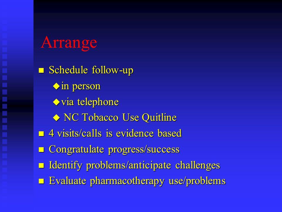 Arrange n Schedule follow-up u in person u via telephone u NC Tobacco Use Quitline n 4 visits/calls is evidence based n Congratulate progress/success
