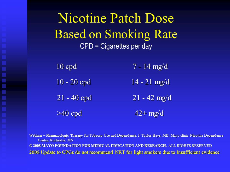 Nicotine Patch Dose Based on Smoking Rate CPD = Cigarettes per day 10 cpd 7 - 14 mg/d 10 cpd 7 - 14 mg/d 10 - 20 cpd 14 - 21 mg/d 10 - 20 cpd 14 - 21