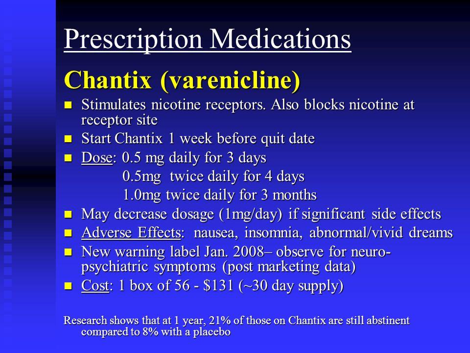 Prescription Medications Chantix (varenicline) n Stimulates nicotine receptors. Also blocks nicotine at receptor site n Start Chantix 1 week before qu