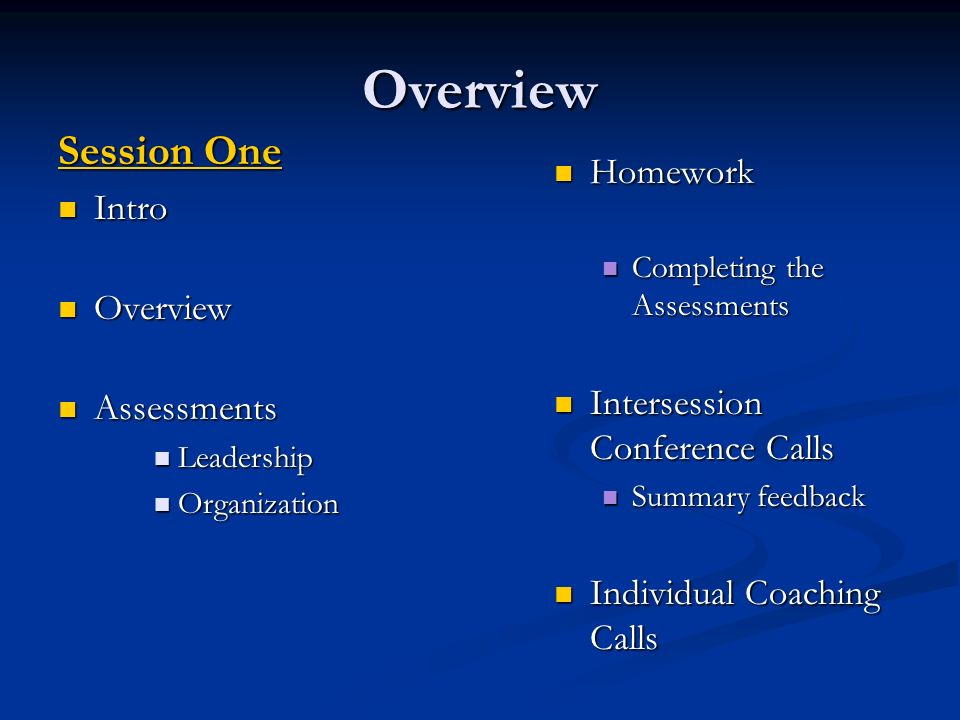 Overview Session One Intro Intro Overview Overview Assessments Assessments Leadership Leadership Organization Organization Homework Completing the Assessments Intersession Conference Calls Summary feedback Individual Coaching Calls