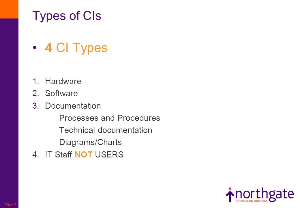 Slide 3 Types of CIs 4 CI Types 1.Hardware 2.Software 3.Documentation Processes and Procedures Technical documentation Diagrams/Charts 4.IT Staff NOT USERS