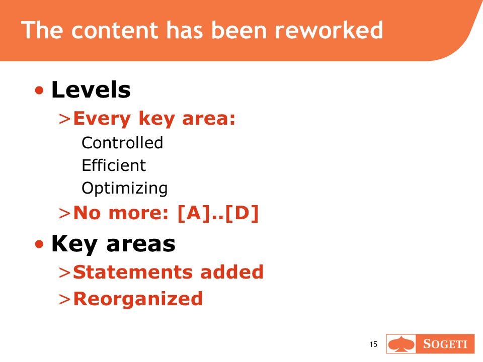 15 The content has been reworked Levels >Every key area: Controlled Efficient Optimizing >No more: [A]..[D] Key areas >Statements added >Reorganized