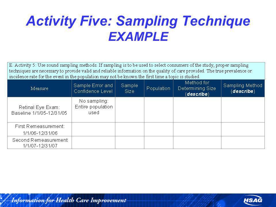 Activity Five: Sampling Technique EXAMPLE