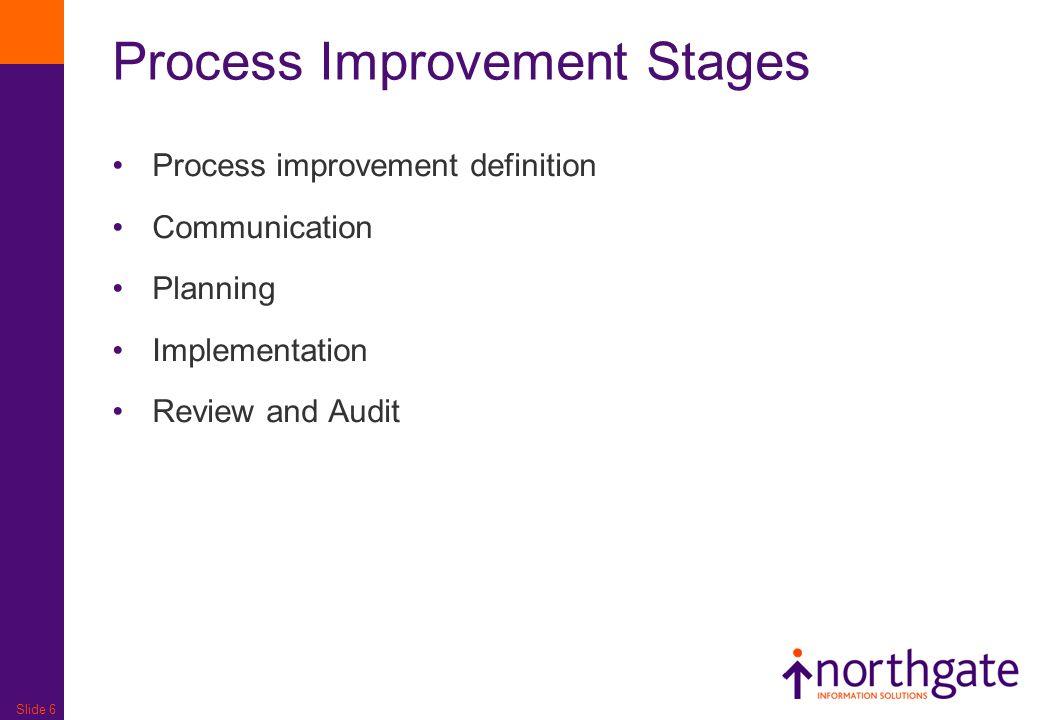 Slide 6 Process Improvement Stages Process improvement definition Communication Planning Implementation Review and Audit