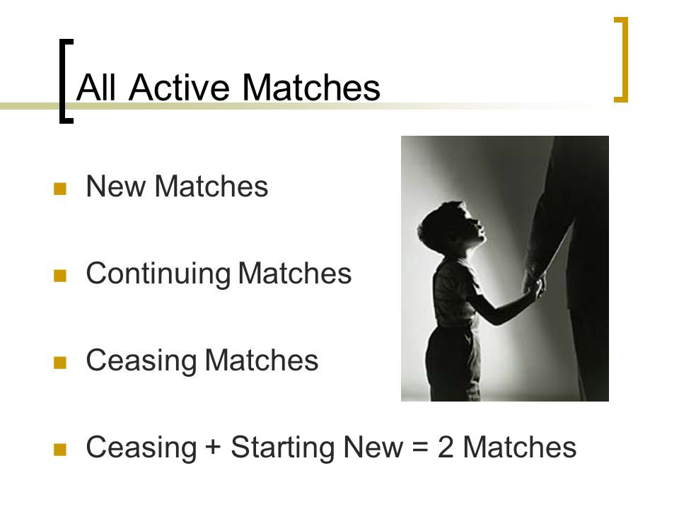 All Active Matches New Matches Continuing Matches Ceasing Matches Ceasing + Starting New = 2 Matches