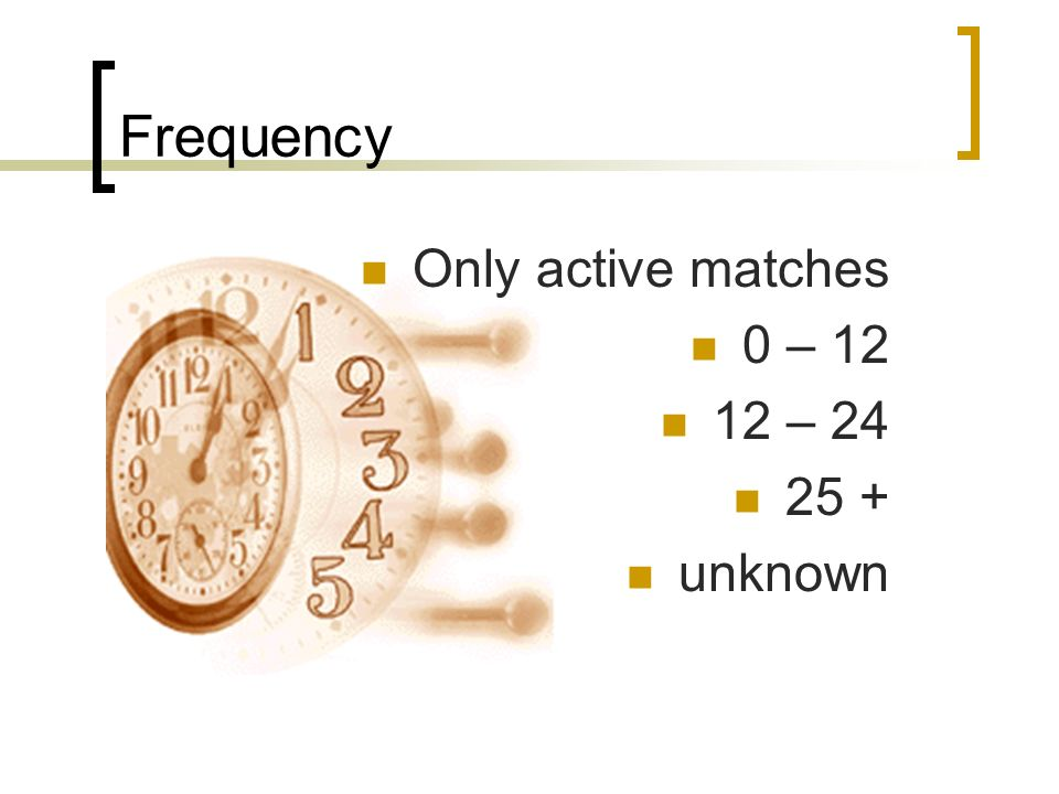 Frequency Only active matches 0 – 12 12 – 24 25 + unknown