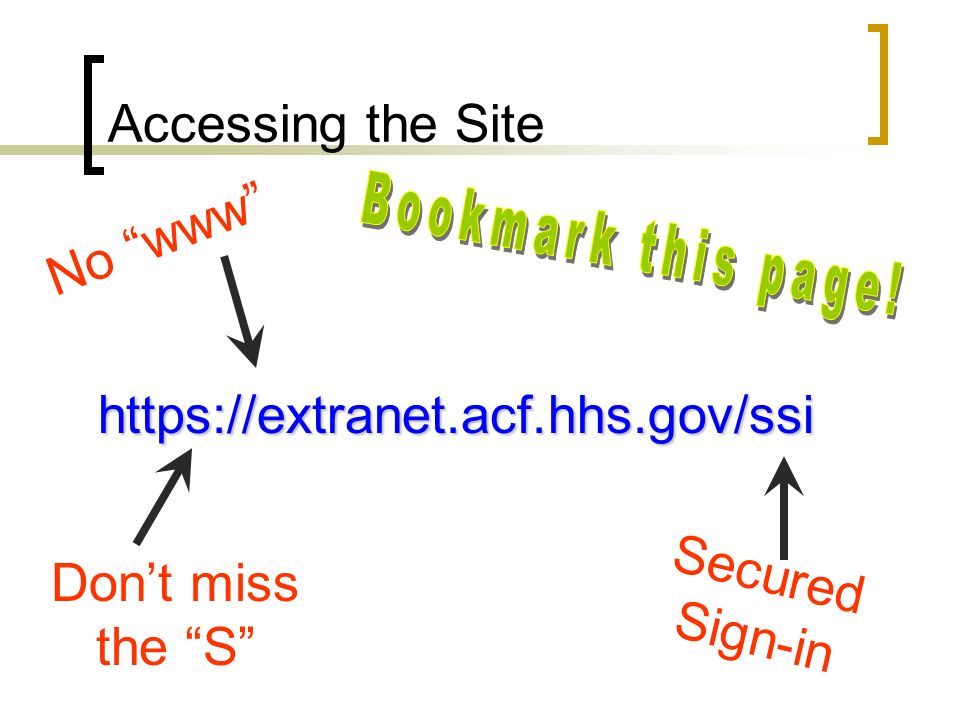 Accessing the Site https://extranet.acf.hhs.gov/ssi Dont miss the S Secured Sign-in No www
