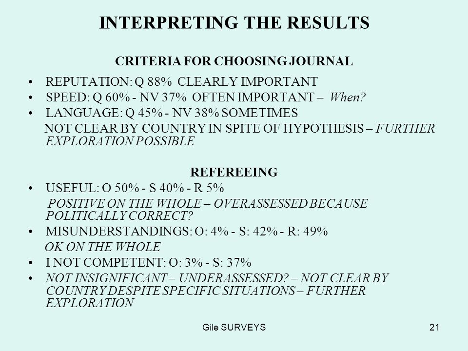 Gile SURVEYS21 INTERPRETING THE RESULTS CRITERIA FOR CHOOSING JOURNAL REPUTATION: Q 88% CLEARLY IMPORTANT SPEED: Q 60% - NV 37% OFTEN IMPORTANT – When.