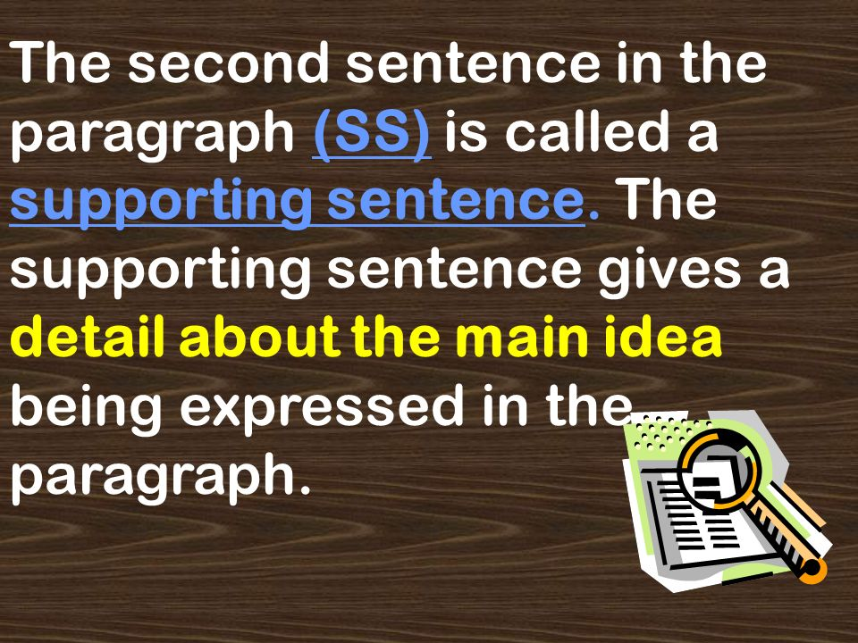 The topic sentence (TS) of a paragraph introduces the paragraph and tells the reader the main idea of the paragraph.