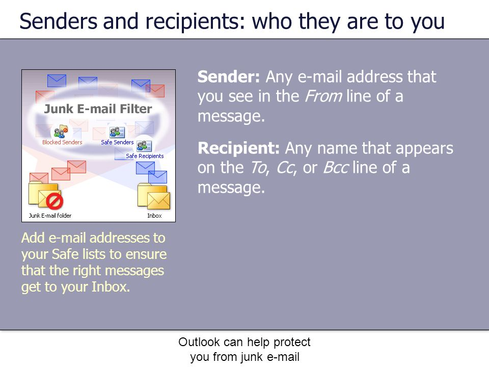Outlook can help protect you from junk e-mail Senders and recipients: who they are to you Sender: Any e-mail address that you see in the From line of a message.