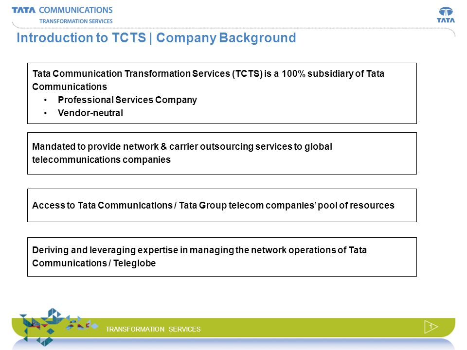 © 2008 Tata Communications Transformation Services, Ltd. All Rights Reserved. TRANSFORMATION SERVICES Business Transformation Solution for Carriers Ma