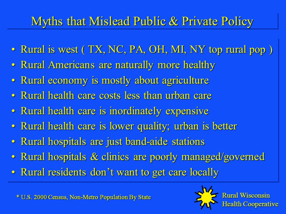 Rural Wisconsin Health Cooperative Myths that Mislead Public & Private Policy Rural is west ( TX, NC, PA, OH, MI, NY top rural pop )Rural is west ( TX, NC, PA, OH, MI, NY top rural pop ) Rural Americans are naturally more healthyRural Americans are naturally more healthy Rural economy is mostly about agricultureRural economy is mostly about agriculture Rural health care costs less than urban careRural health care costs less than urban care Rural health care is inordinately expensiveRural health care is inordinately expensive Rural health care is lower quality; urban is betterRural health care is lower quality; urban is better Rural hospitals are just band-aide stationsRural hospitals are just band-aide stations Rural hospitals & clinics are poorly managed/governedRural hospitals & clinics are poorly managed/governed Rural residents dont want to get care locallyRural residents dont want to get care locally Rural is west ( TX, NC, PA, OH, MI, NY top rural pop )Rural is west ( TX, NC, PA, OH, MI, NY top rural pop ) Rural Americans are naturally more healthyRural Americans are naturally more healthy Rural economy is mostly about agricultureRural economy is mostly about agriculture Rural health care costs less than urban careRural health care costs less than urban care Rural health care is inordinately expensiveRural health care is inordinately expensive Rural health care is lower quality; urban is betterRural health care is lower quality; urban is better Rural hospitals are just band-aide stationsRural hospitals are just band-aide stations Rural hospitals & clinics are poorly managed/governedRural hospitals & clinics are poorly managed/governed Rural residents dont want to get care locallyRural residents dont want to get care locally * U.S.