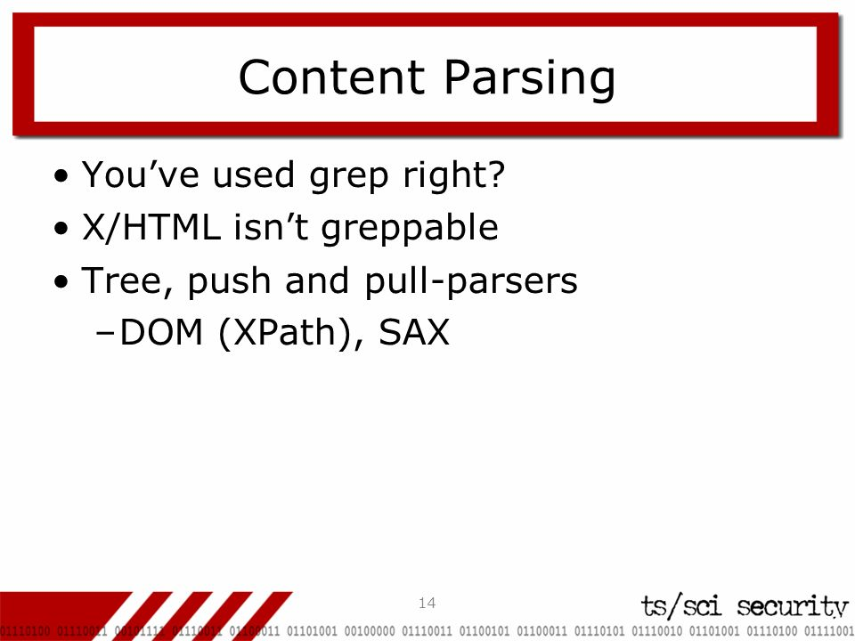 14 Content Parsing Youve used grep right.