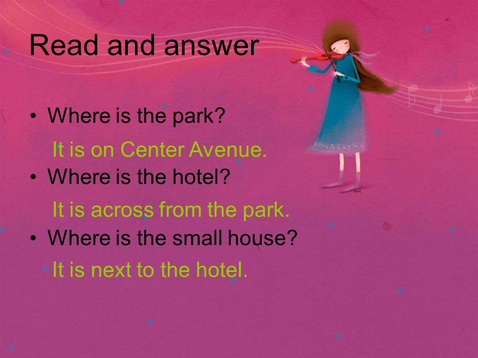 Read and answer Where is the park. Where is the hotel.