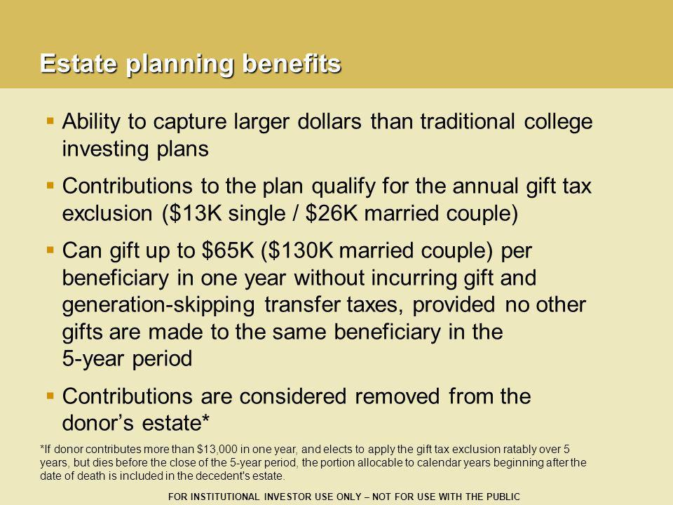 FOR INSTITUTIONAL INVESTOR USE ONLY – NOT FOR USE WITH THE PUBLIC Estate planning benefits Ability to capture larger dollars than traditional college