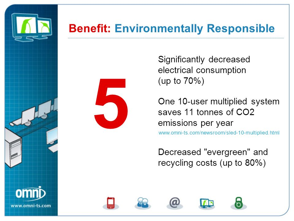 Significantly decreased electrical consumption (up to 70%) One 10-user multiplied system saves 11 tonnes of CO2 emissions per year Decreased evergreen and recycling costs (up to 80%) Benefit: Environmentally Responsible 5 Benefit 5: Environmentally Responsible www.omni-ts.com/newsroom/sled-10-multiplied.html