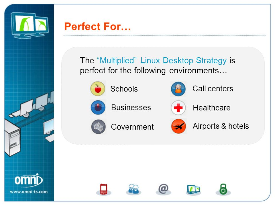 Perfect For… The Multiplied Linux Desktop Strategy is perfect for the following environments… Schools Call centers Healthcare Businesses Government Airports & hotels Perfect For…