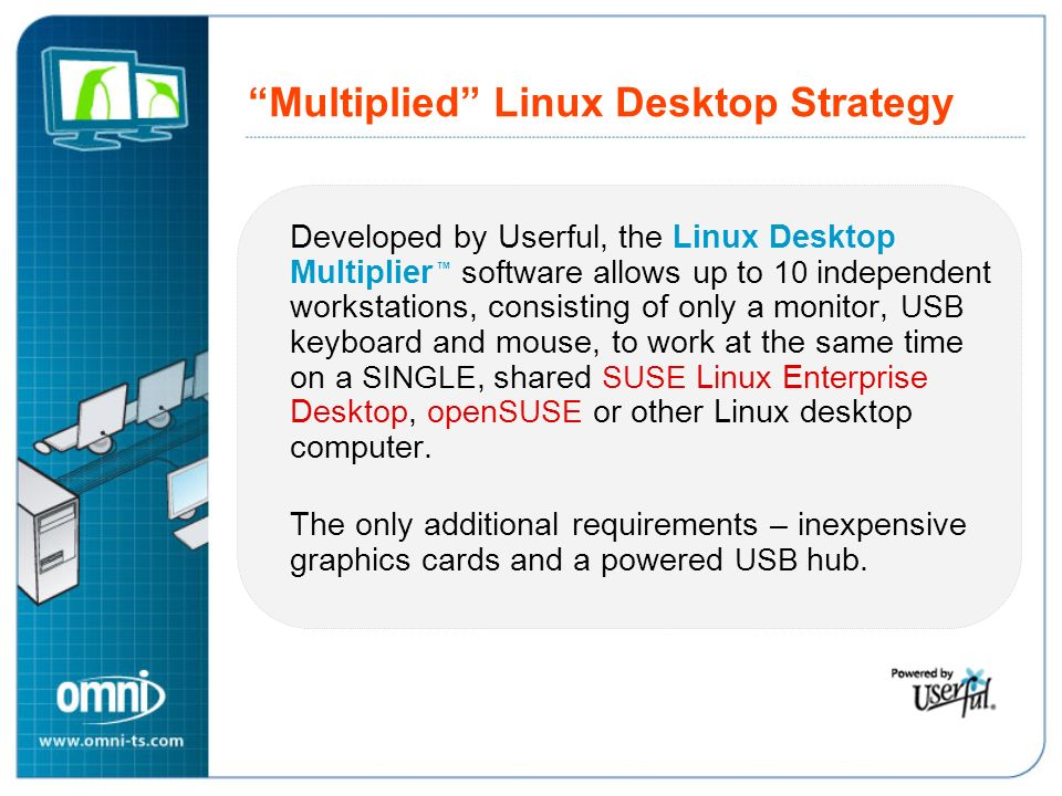 Multiplied Linux Desktop Strategy Developed by Userful, the Linux Desktop Multiplier software allows up to 10 independent workstations, consisting of only a monitor, USB keyboard and mouse, to work at the same time on a SINGLE, shared SUSE Linux Enterprise Desktop, open SUSE or other Linux desktop computer.