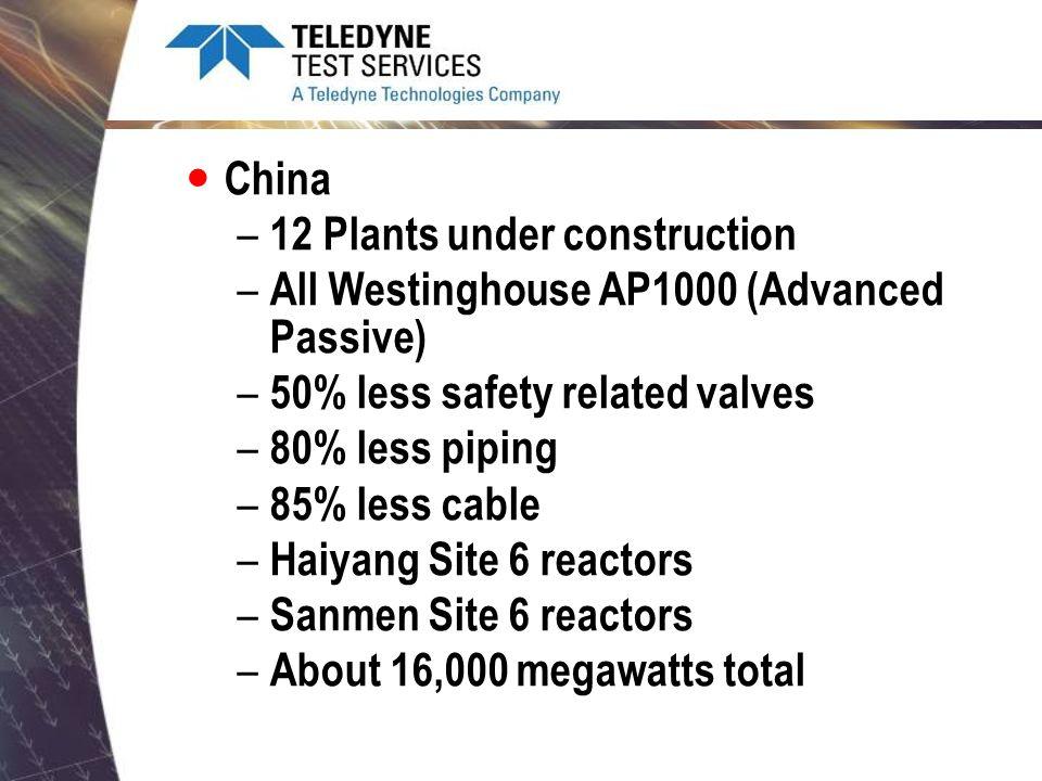 China – Westinghouse did a technology transfer to the Chinese for AP1000 – Signed contract with Westinghouse – Cannot market the AP1000 outside of China – Scaled up the AP1000 to AP1400 – Marketing AP1400 outside of China