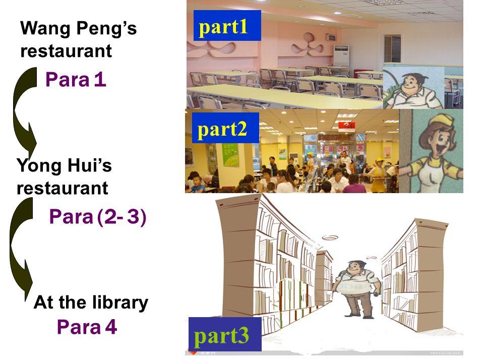 Wang Pengs restaurant Para 1 Yong Huis restaurant Para (2- 3) At the library Para 4 part1 part2 part3