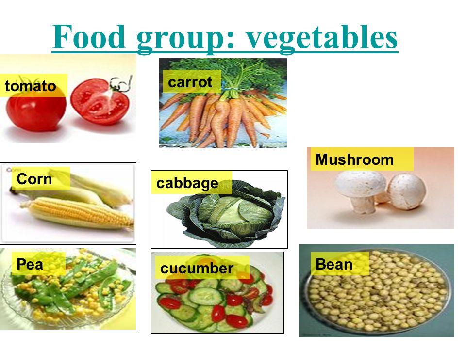 carrot tomato cabbage cucumber Pea Mushroom Bean Corn Food group: vegetables