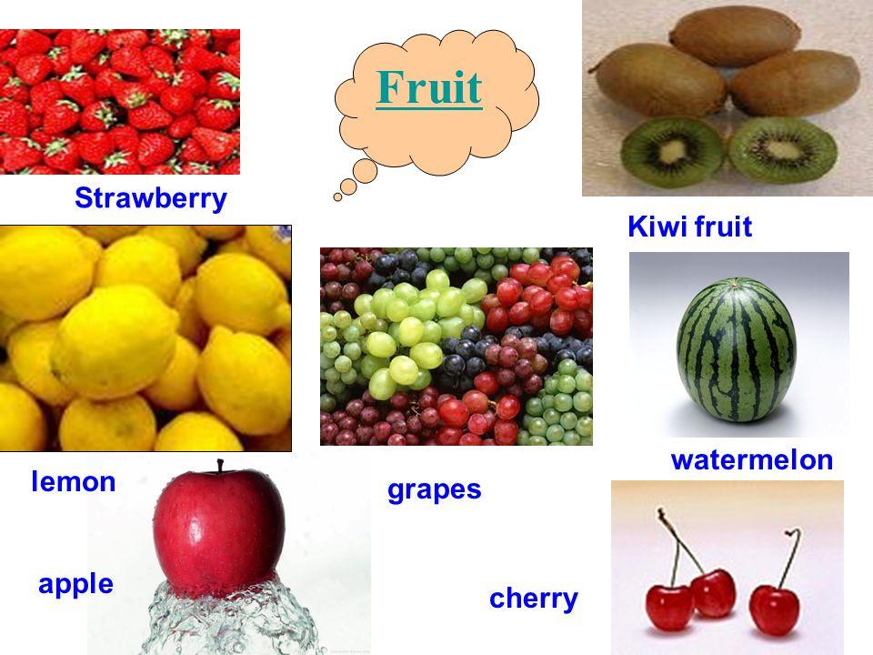 Fruit Strawberry apple lemon Kiwi fruit cherry grapes watermelon
