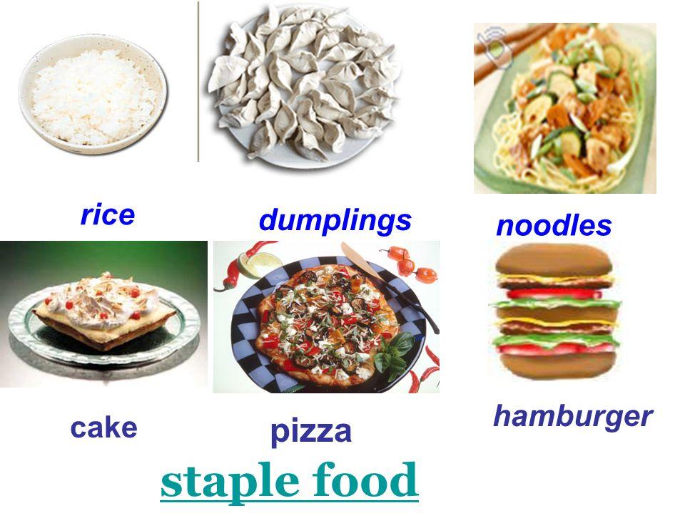 rice dumplings noodles cake pizza hamburger staple food