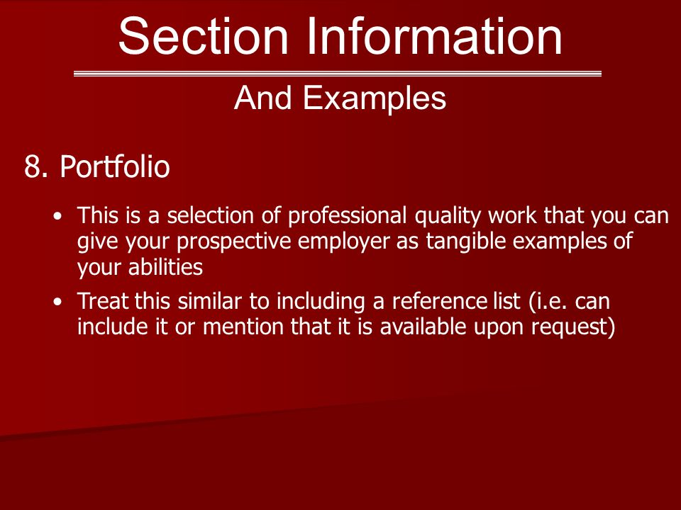 Section Information 8.